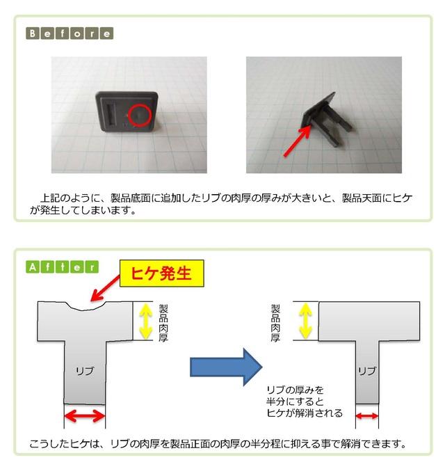 (1)ヒケを回避するための設計のポイント